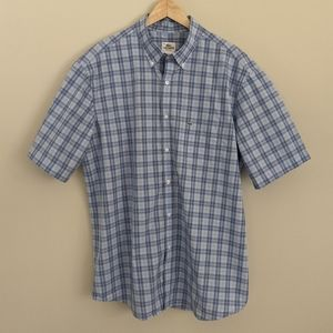 Lacoste short sleeved plaid button down shirt